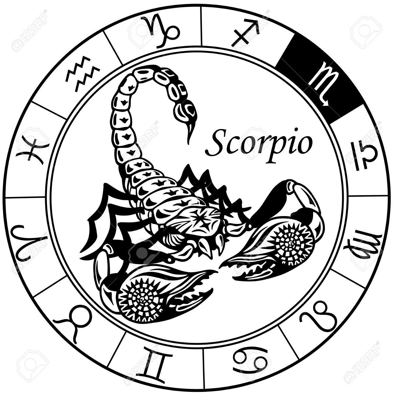 29493614-scorpion-or-scorpio-astrological-zodiac-sign-black-and-white-tattoo-image-stock-vector